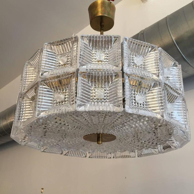 Orrefors Carl Fagerlund 1960s Crystal Flush Chandelier Pendant For Sale 3