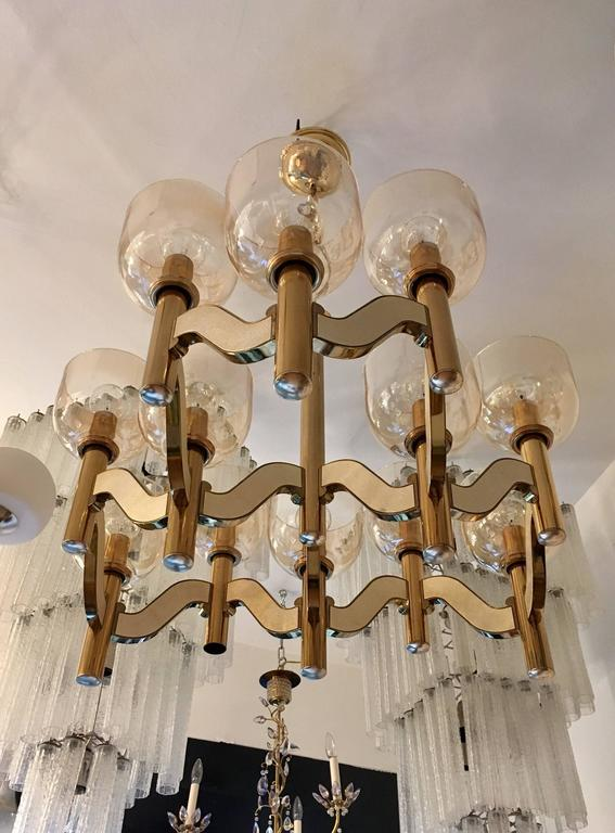 Late 20th Century Sciolari High Style 1970s Italian Chandelier For Sale