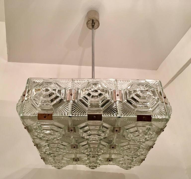 Mid-Century Modern 1960s Czech Kamenicky Senov Bohemian Glass Pendant For Sale