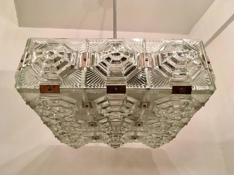 Mid-20th Century 1960s Czech Kamenicky Senov Bohemian Glass Pendant For Sale