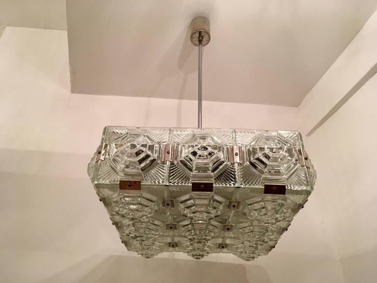 Cut Glass 1960s Czech Kamenicky Senov Bohemian Glass Pendant For Sale