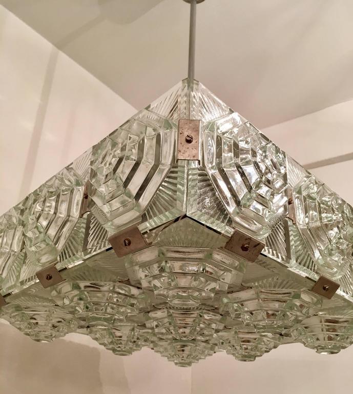 1960s Czech Kamenicky Senov Bohemian Glass Pendant For Sale 2