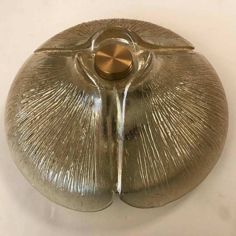 1970s Peill and Putzler Golden Glass Flush Ceiling Light For Sale 2