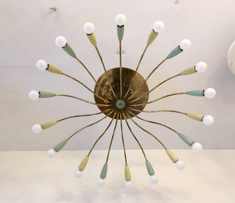 Large Italian Mid-Century Ragno, 1950s Sputnik Chandelier 3