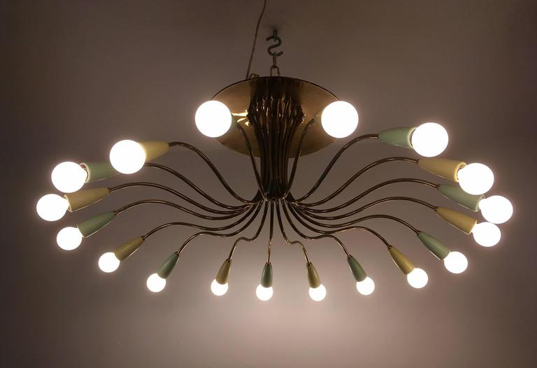 Large Italian Mid-Century Ragno, 1950s Sputnik Chandelier For Sale 3