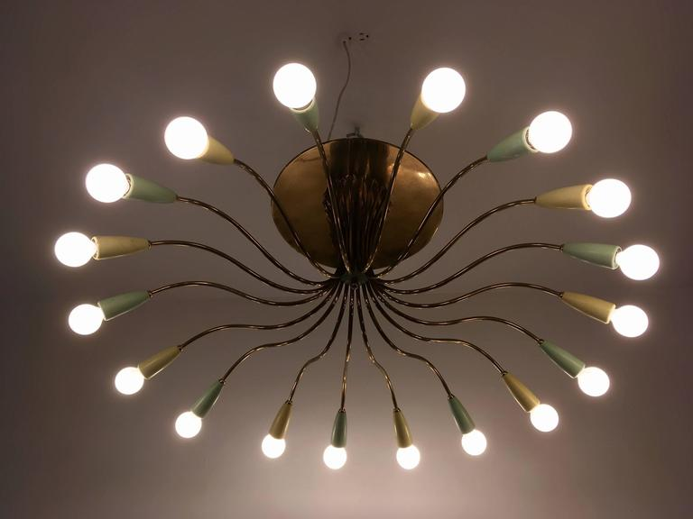 Large Italian Mid-Century Ragno, 1950s Sputnik Chandelier For Sale 4