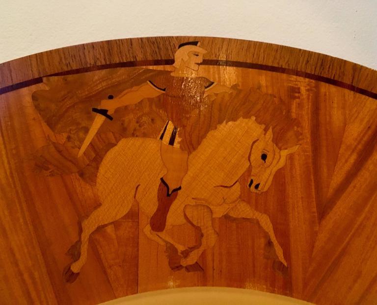 Wood Large Swedish Art Deco Mjolby Intarsia 1920s Light For Sale