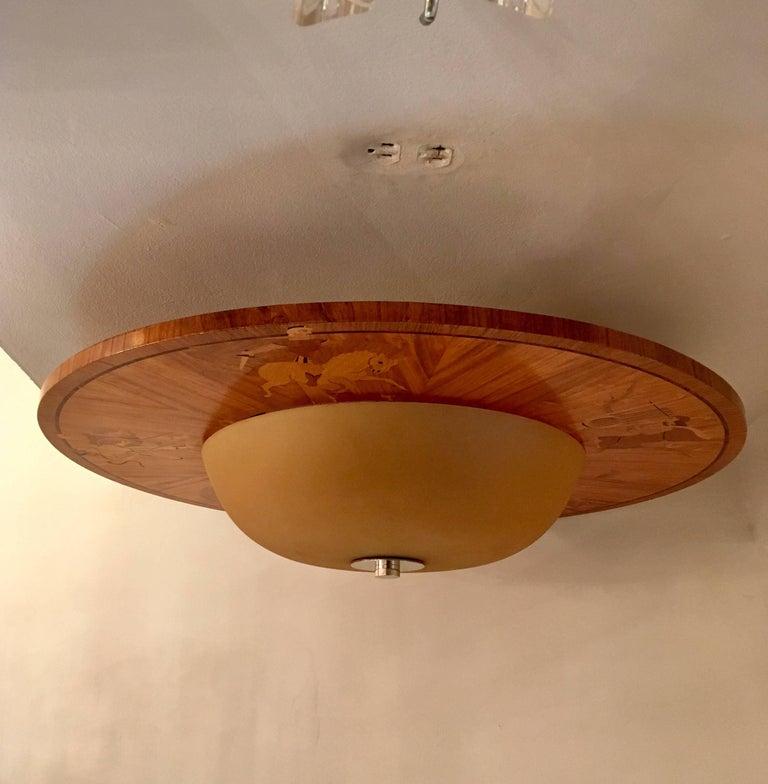 Large Swedish Art Deco Mjolby Intarsia 1920s Light For Sale 5
