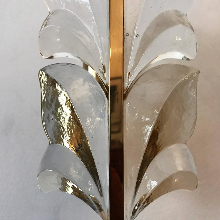 Pair of 1970s Kalmar Glass Floral Wall Lights 5
