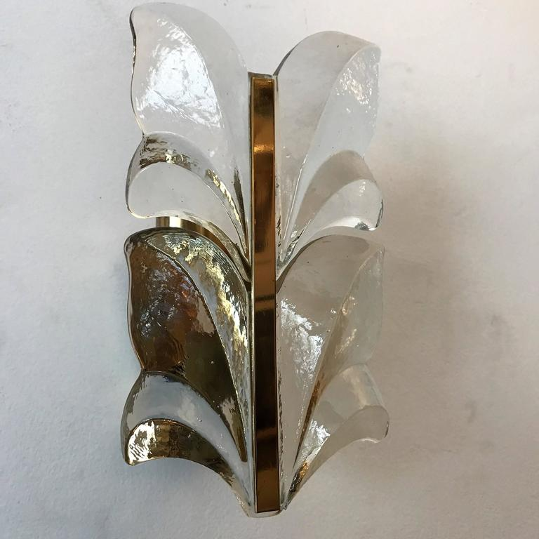 Pair of 1970s Kalmar Glass Floral Wall Lights 9