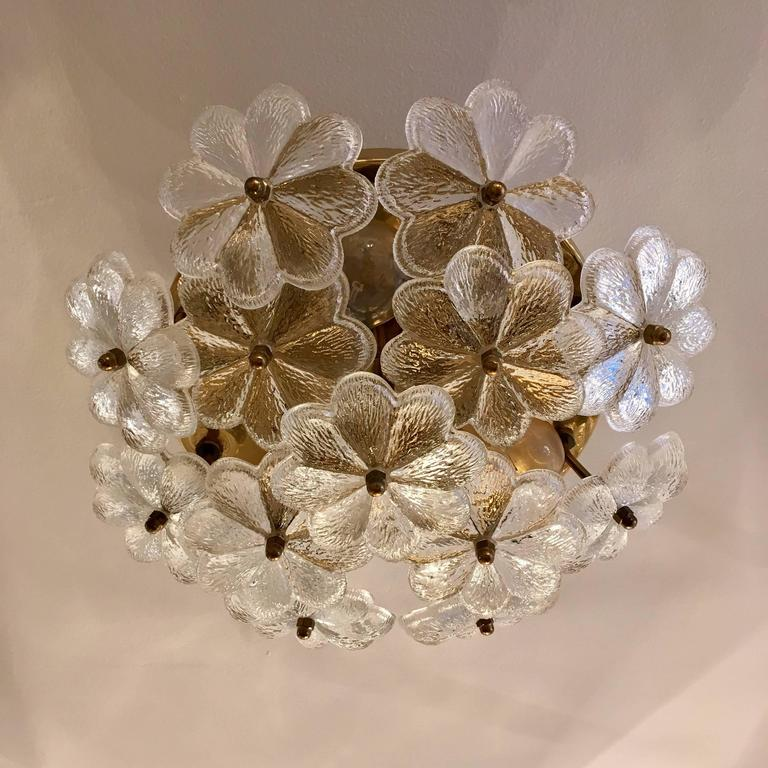 A wonderful original 1960s Austrian floral glass flush ceiling or wall light with an aged polished brass fixture and finials by Palme. Rewired. Two other sizes available, 14inch  and 20inch.