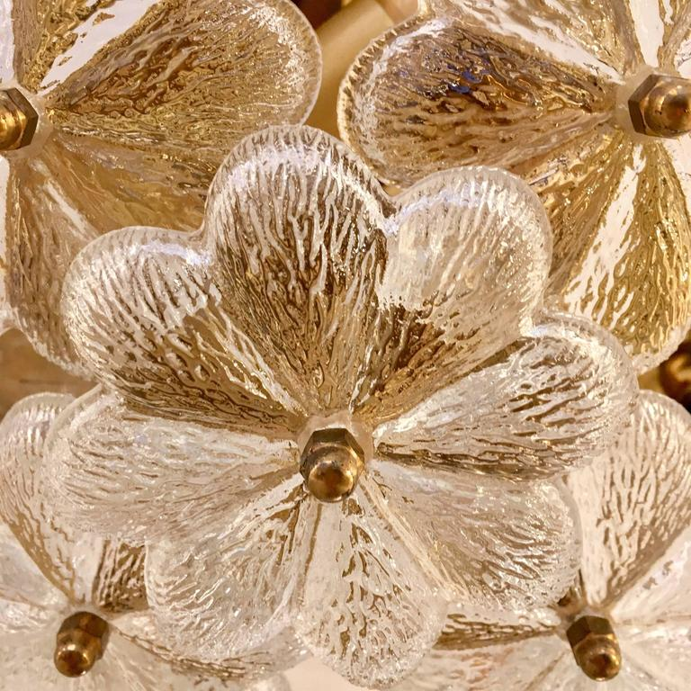 Mid-Century Modern Austrian Palme Glass Floral Flush Ceiling or Wall Light, 1960s For Sale