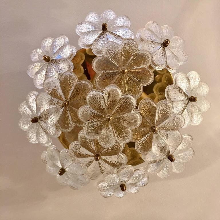 Austrian Palme Glass Floral Flush Ceiling or Wall Light, 1960s In Excellent Condition For Sale In New York, NY