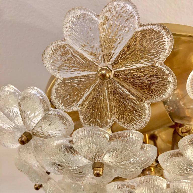 Mid-20th Century Austrian Palme Glass Floral Flush Ceiling or Wall Light, 1960s For Sale