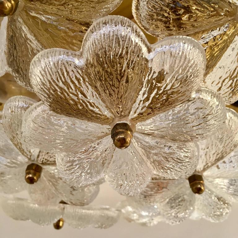 Brass Austrian Palme Glass Floral Flush Ceiling or Wall Light, 1960s For Sale