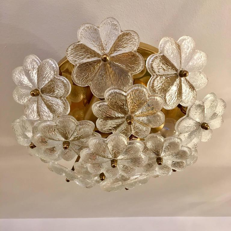 Austrian Palme Glass Floral Flush Ceiling or Wall Light, 1960s For Sale 1
