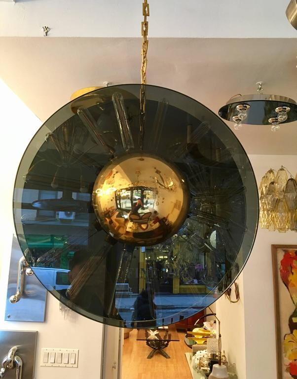 1980s Italian Saturno Glass Modern Pendant In Excellent Condition For Sale In New York, NY