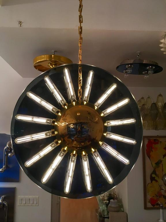 Post-Modern 1980s Italian Saturno Glass Modern Pendant For Sale