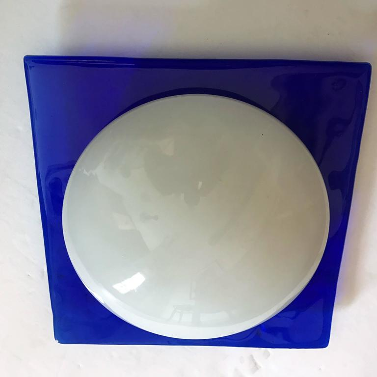 Late 20th Century Murano Glass 1980s Flush Mount Light For Sale