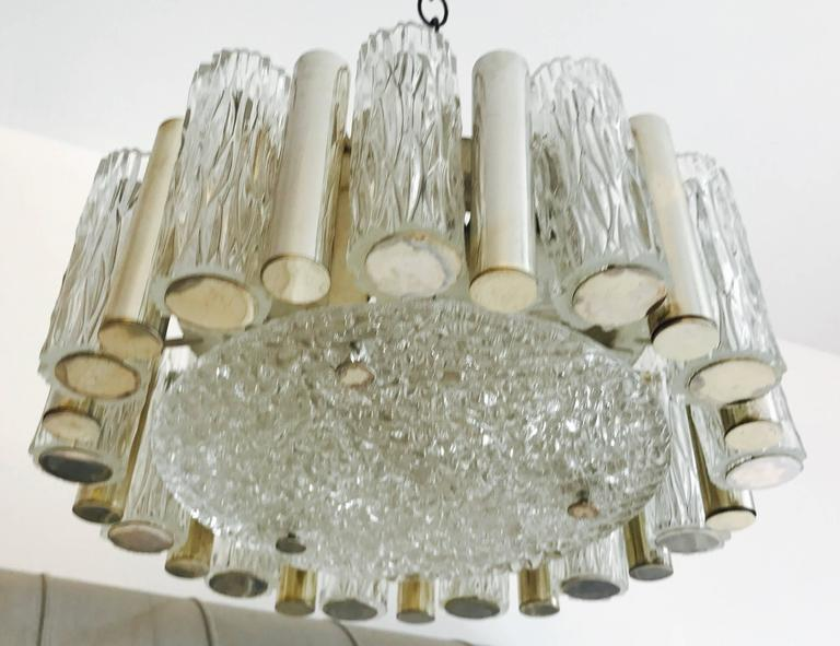 Mid-Century Modern German 1960s High Style Glass Flush Pendant For Sale