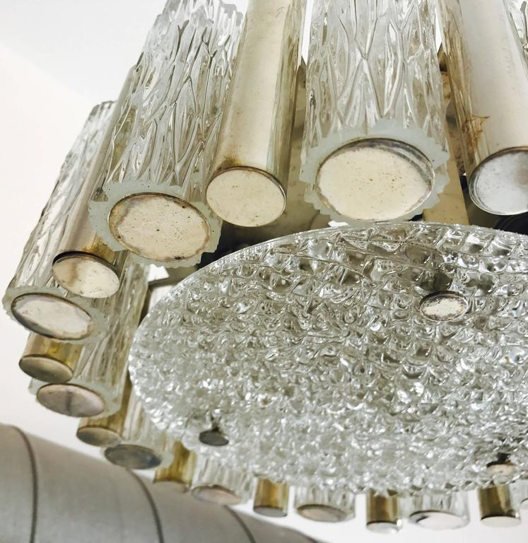 Mid-20th Century German 1960s High Style Glass Flush Pendant For Sale