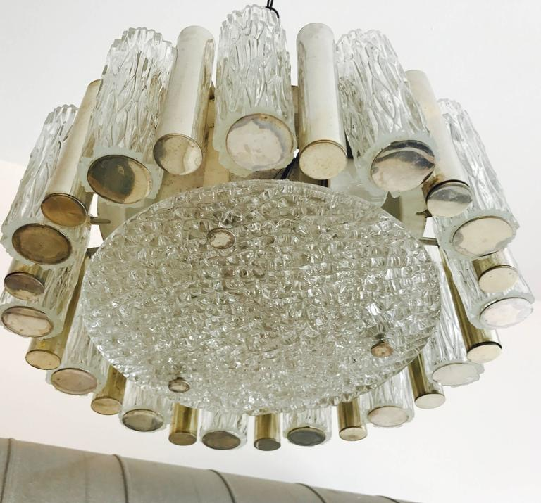German 1960s High Style Glass Flush Pendant For Sale 2