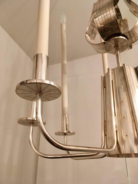 Mid-Century Modern Tommi Parzinger Originals 1960s Silver Chandelier For Sale