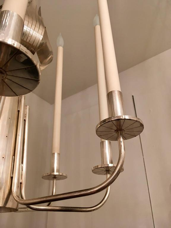 Tommi Parzinger Originals 1960s Silver Chandelier In Excellent Condition For Sale In New York, NY
