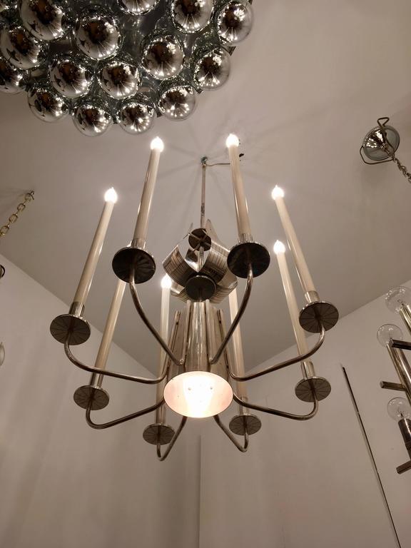 Tommi Parzinger Originals 1960s Silver Chandelier For Sale 1