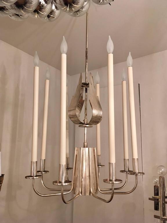 Tommi Parzinger Originals 1960s Silver Chandelier For Sale 4