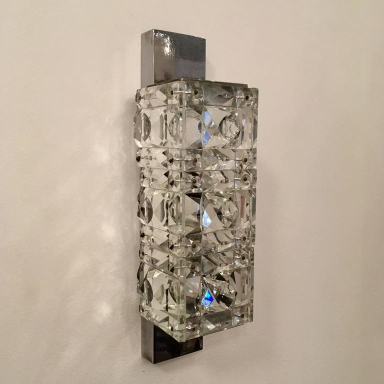 Pair of 1960s Austrian Crystal Kinkeldey Wall Lights For Sale 4