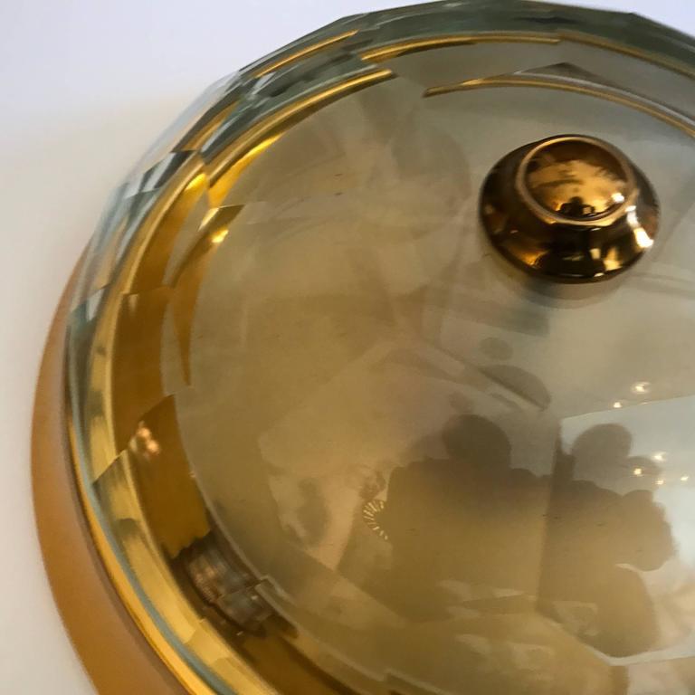 Oscar Torlasco Gold Crystal 1960s Flush Ceiling Light 4