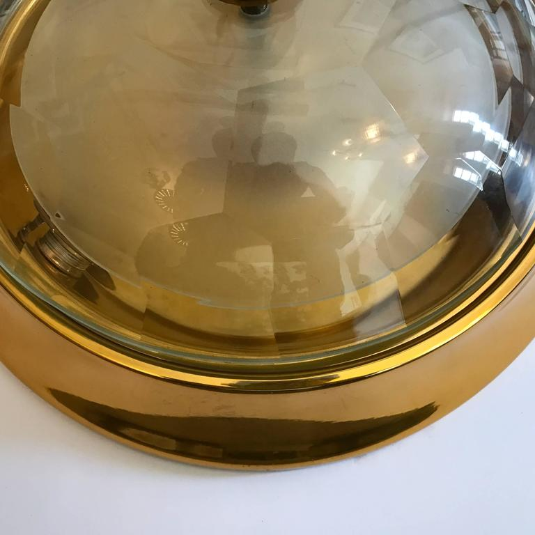 Oscar Torlasco Gold Crystal 1960s Flush Ceiling Light In Excellent Condition For Sale In New York, NY