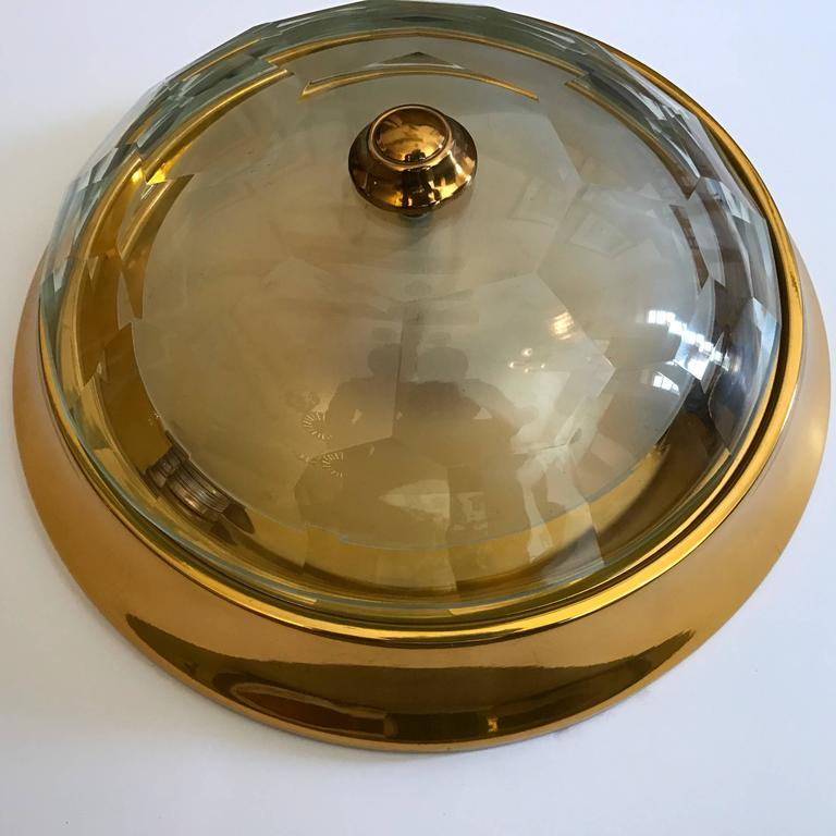 Oscar Torlasco Gold Crystal 1960s Flush Ceiling Light 6