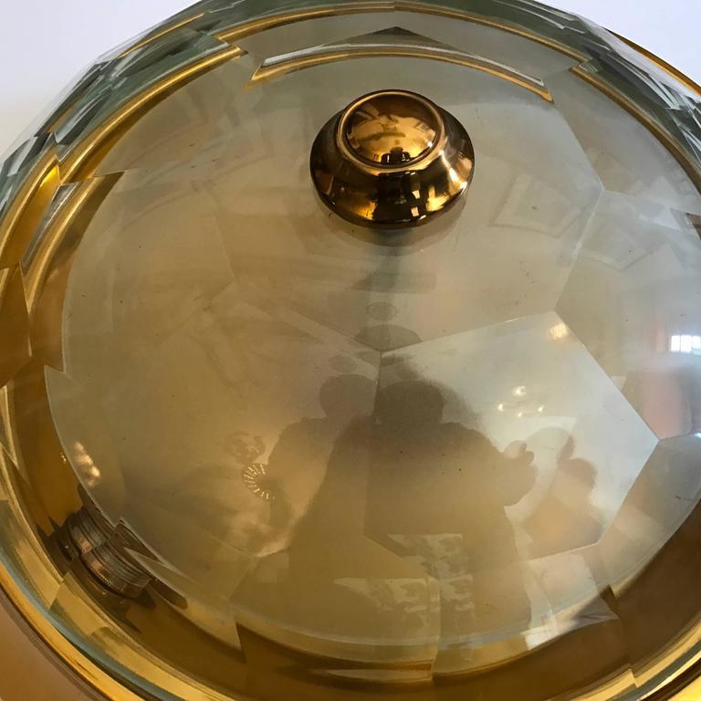 Oscar Torlasco Gold Crystal 1960s Flush Ceiling Light 7
