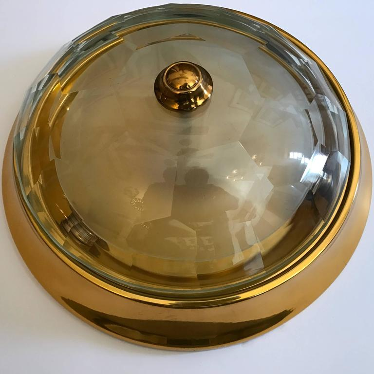 Oscar Torlasco Gold Crystal 1960s Flush Ceiling Light 10