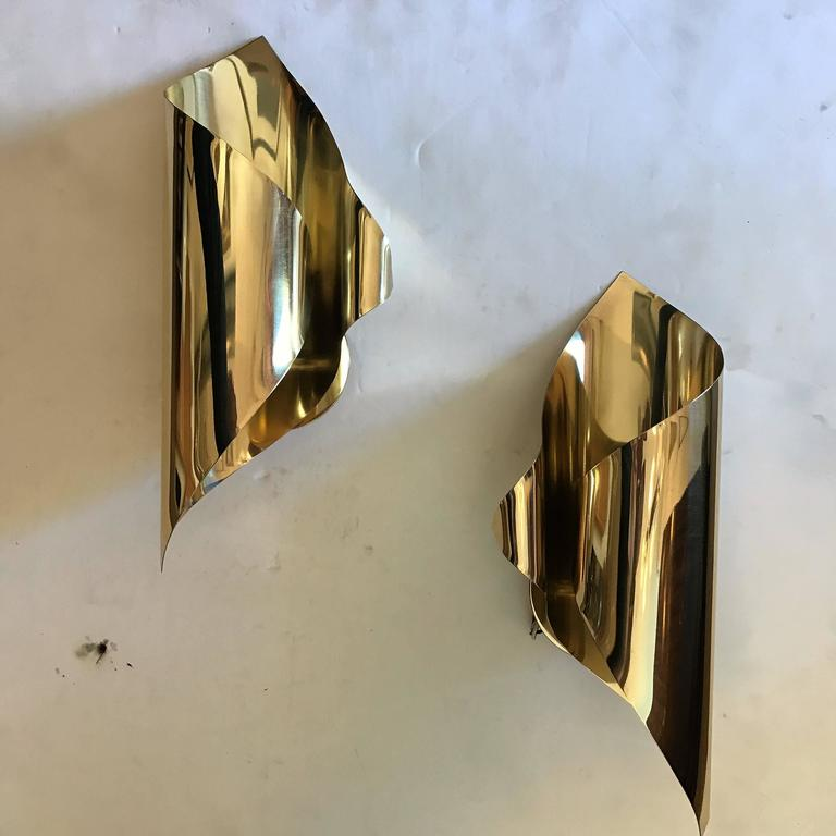 Mid-Century Modern Pair of 1970s French Maison Charles et Fils Wall Lights For Sale