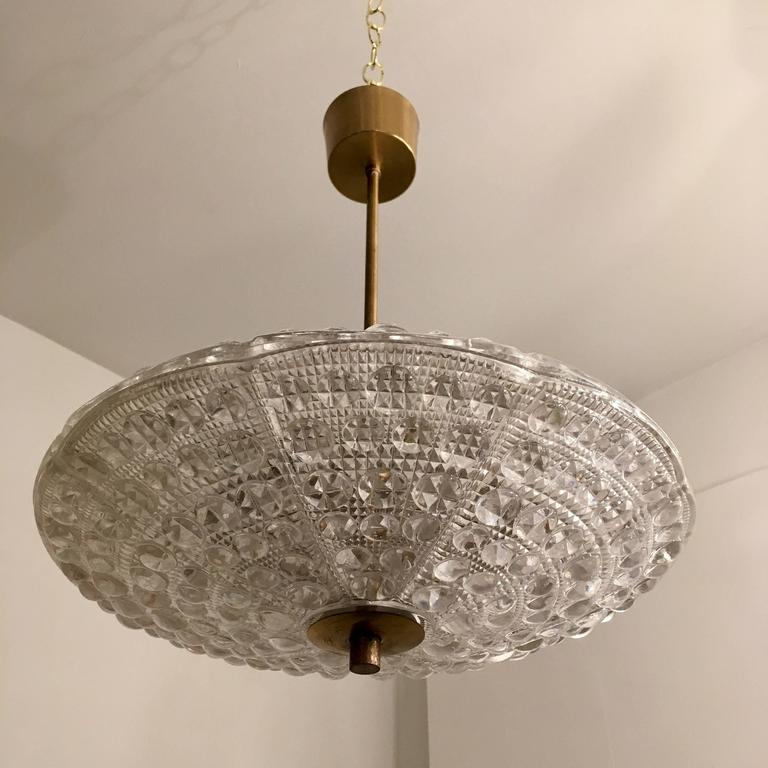 Mid-Century Modern Pair of Fagerlund Orrefors Crystal Swedish Pendants For Sale