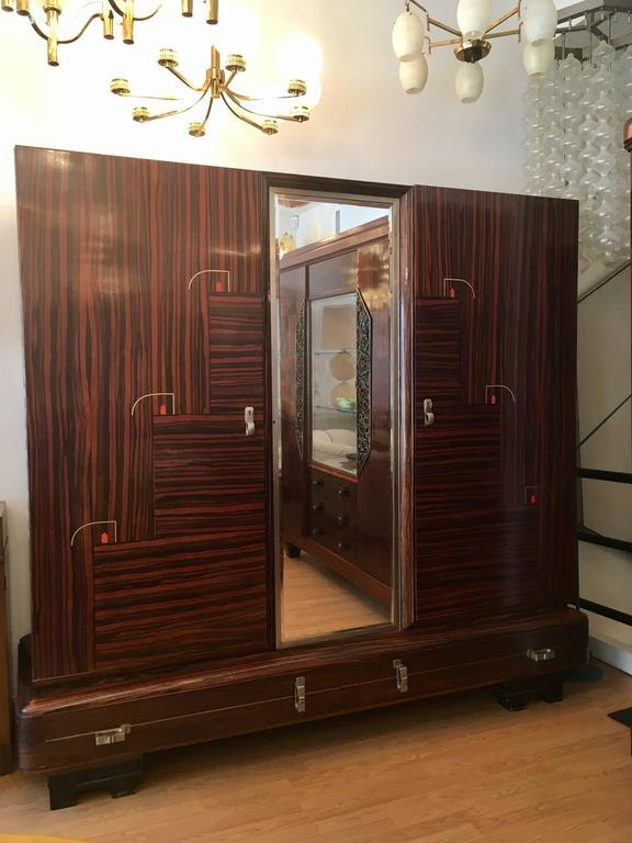De Coene 1930s Belgian Art Deco Cabinet Wardrobe In Excellent Condition For Sale In New York, NY