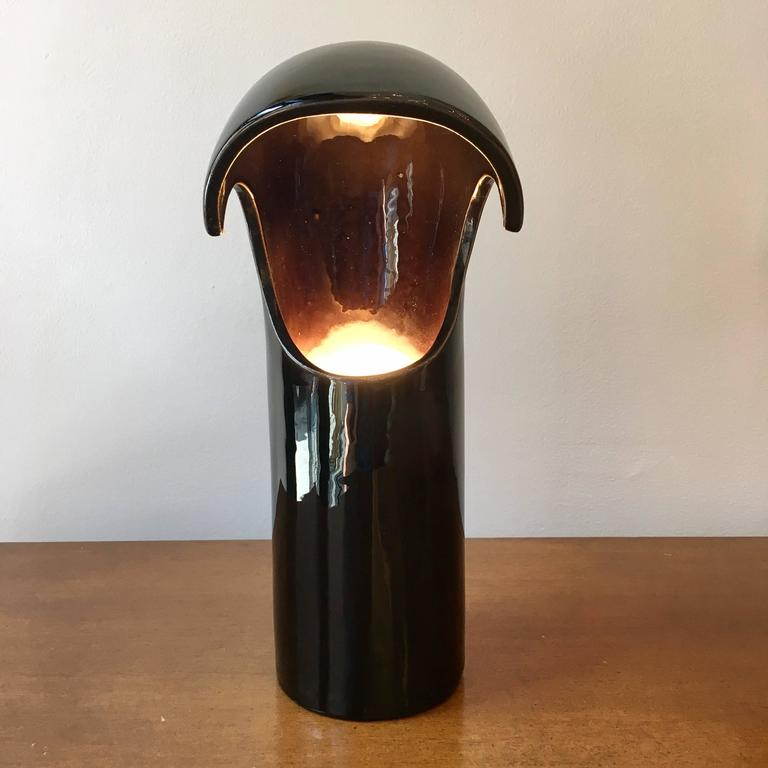 Space Age Italian 1960s Ceramic Table Lamp For Sale 1