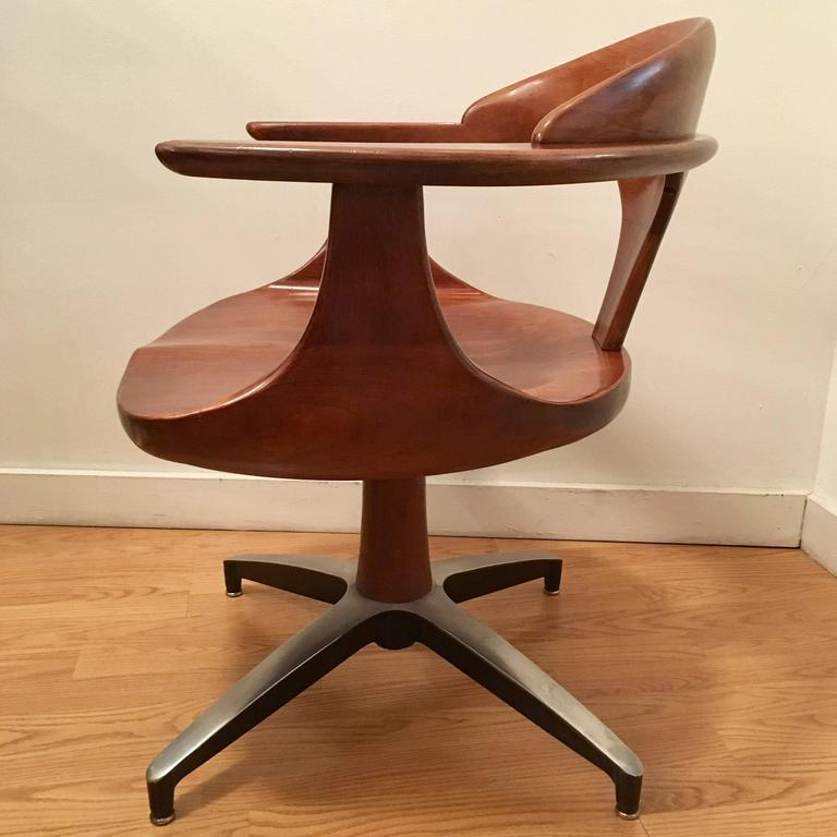 Four Heywood Wakefield Cliff House 1960s Hardwood Chairs 2