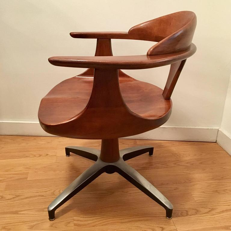 Four Heywood Wakefield Cliff House 1960s Hardwood Chairs 3