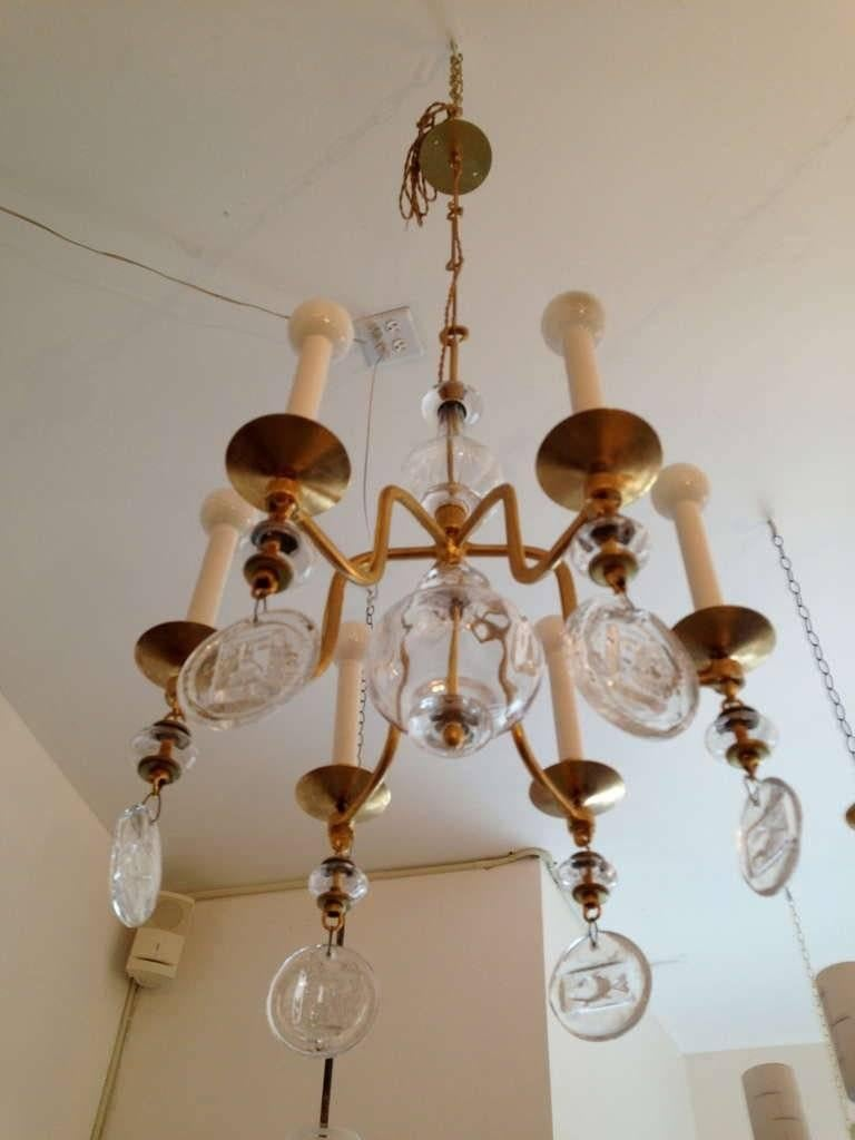 A 1960s Erik Hoglund for Kosta Boda six-light gilded chandelier with handblown glass elements. Rewired. 48