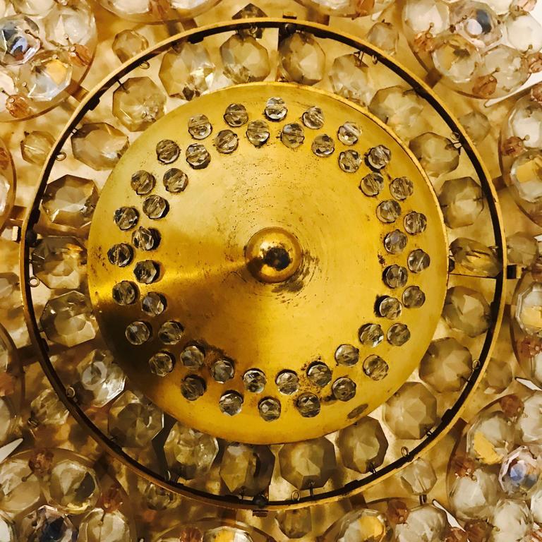 Mid-Century Modern Austrian 1960s Stejnar Crystal Flush Light For Sale