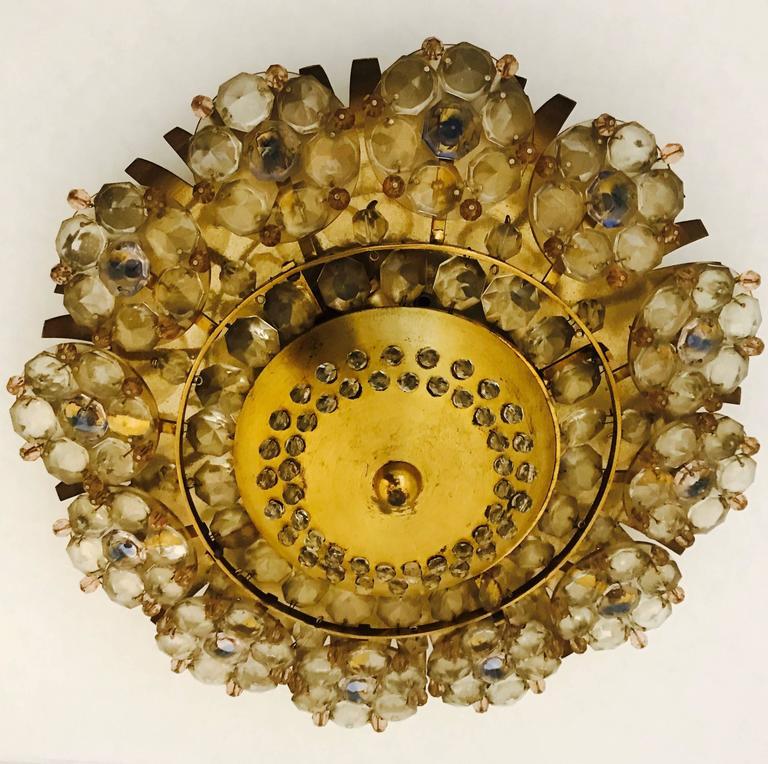 Austrian 1960s Stejnar Crystal Flush Light For Sale 3
