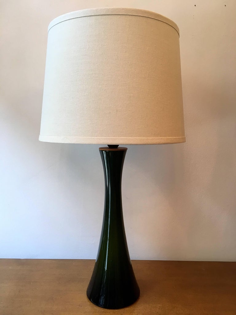 Mid-20th Century Pair of Green Glass Swedish Berndt Nordstedt Bergbom, 1960s Table Lamps For Sale