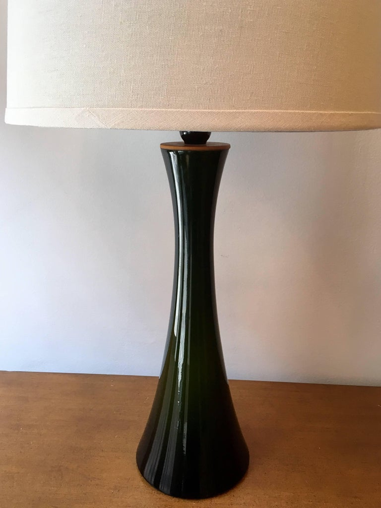 Pair of Green Glass Swedish Berndt Nordstedt Bergbom, 1960s Table Lamps For Sale 1