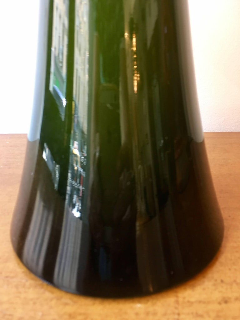 Pair of Green Glass Swedish Berndt Nordstedt Bergbom, 1960s Table Lamps For Sale 4