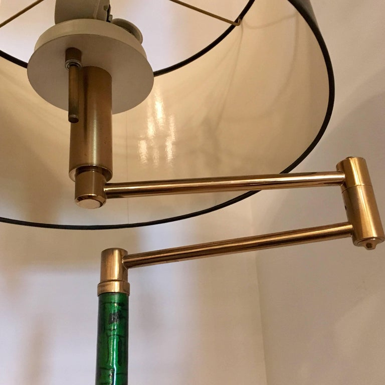 Enameled Italian, 1950s Mid-Century Enamel Floor Lamp For Sale