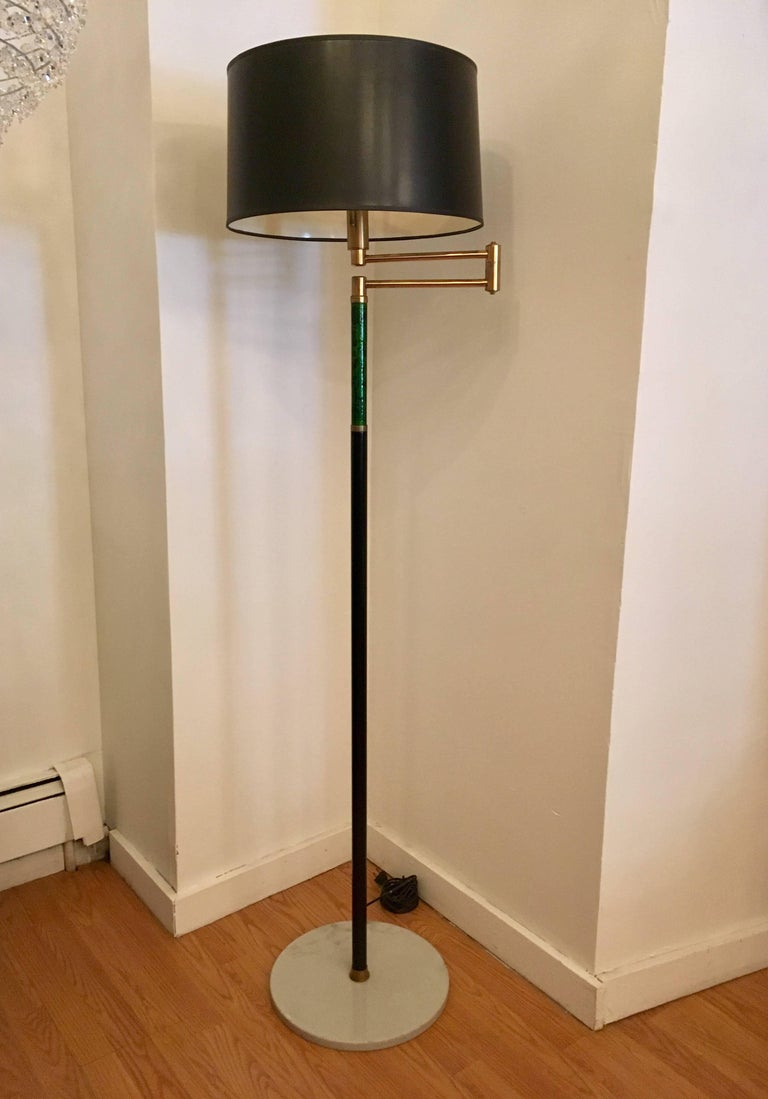 Italian, 1950s Mid-Century Enamel Floor Lamp For Sale 3